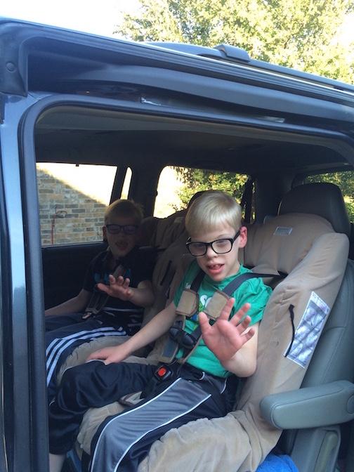 Twins in car
